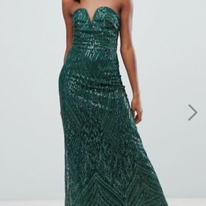 TFNC Green Strapless Sequin Dress